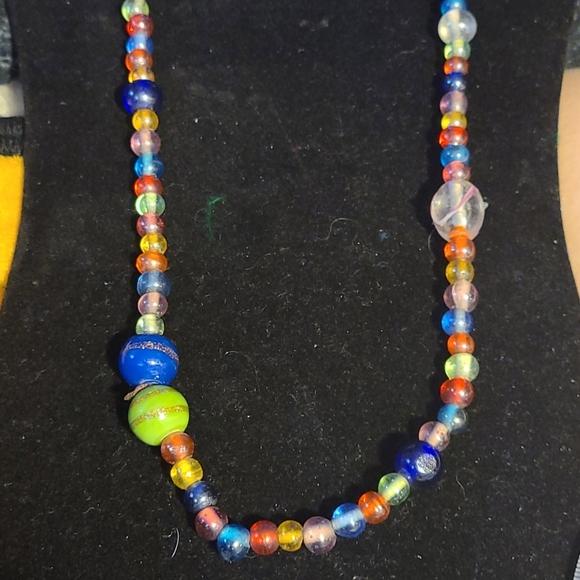 Asymmetrical glass bead necklace